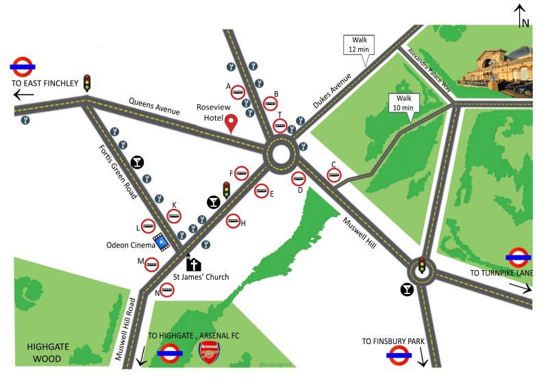 Location Roseview Hotel North London Muswell Hill